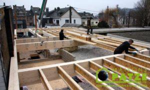 Ossature bois - ré-hausse de maison à Malmedy - Montage de l'ossature
