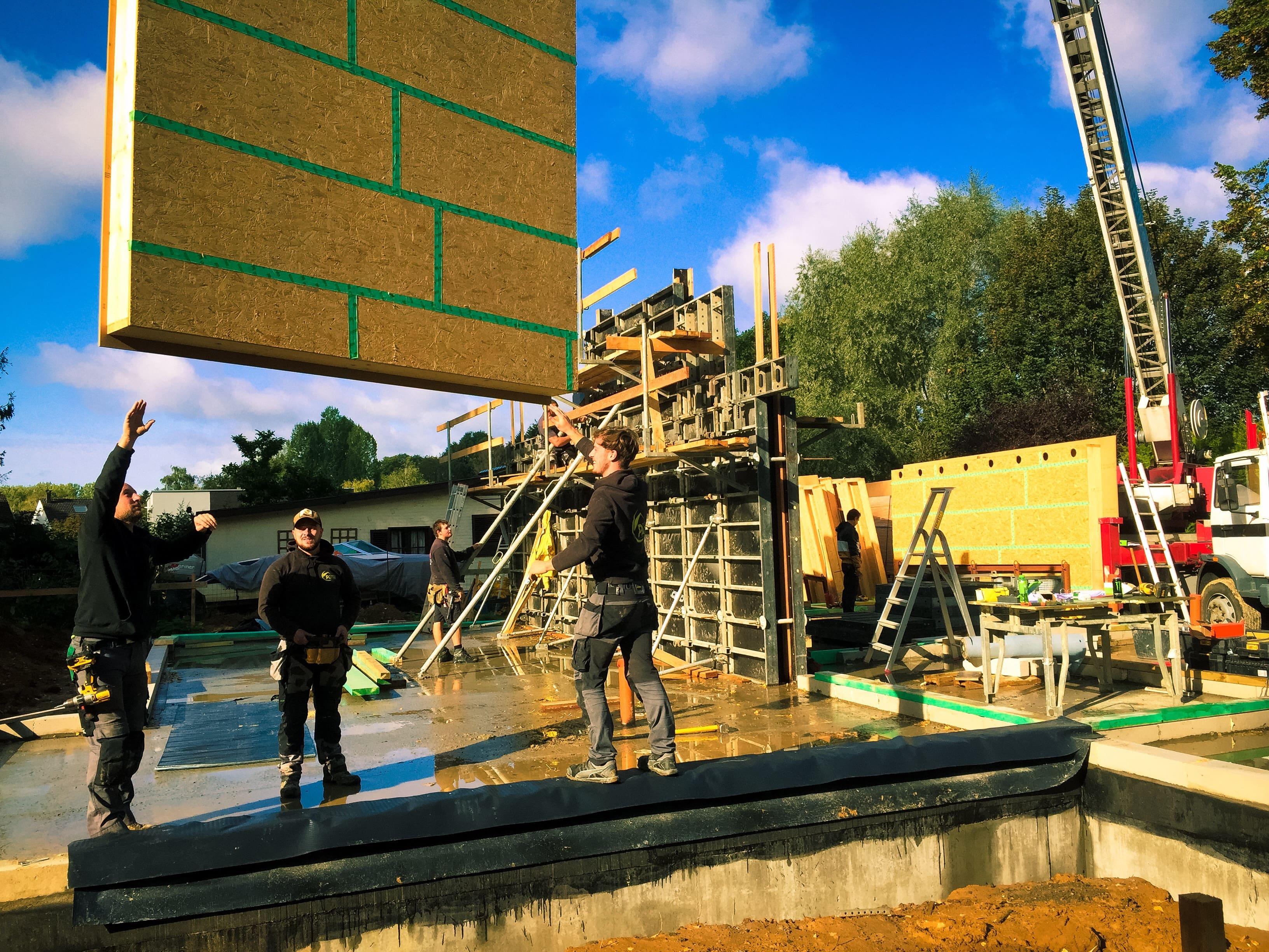 Montage d'une ossature bois moderne à Waterloo
