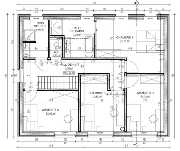 Plan de l'étage d'une maison à ossature bois en kit