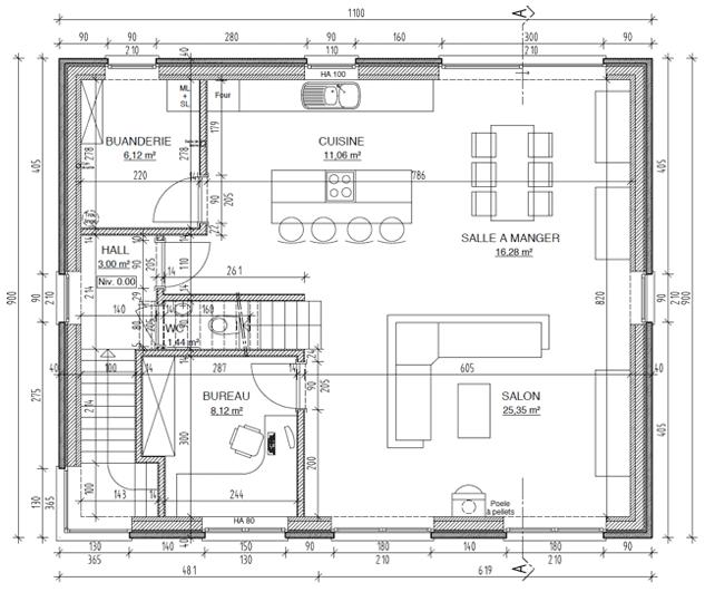 Plan du rez-de-chaussée d'une maison à ossature bois en kit